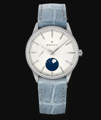 Zenith ELITE MOONPHASE 36mm steel diamonds with silver dial Replica Watch 16.3200.692/01.C832