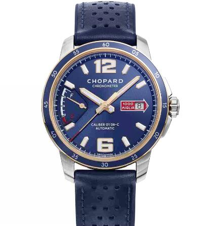 Chopard Classic Racing Replica Watch MILLE MIGLIA GTS AZZURRO POWER CONTROL 43 MM AUTOMATIC ROSE GOLD STAINLESS STEEL 168566-6002