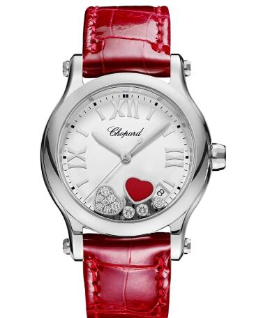 Chopard Happy Hearts Watch Cheap Price 36 MM QUARTZ STAINLESS STEEL DIAMONDS STABILIZED RED STONE 278582-3005