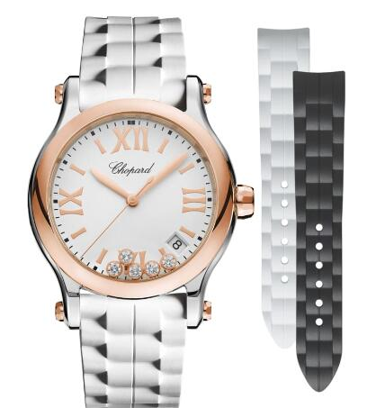Chopard Happy Sport Watch Cheap Price 36 MM QUARTZ ROSE GOLD STAINLESS STEEL DIAMONDS 278582-6001