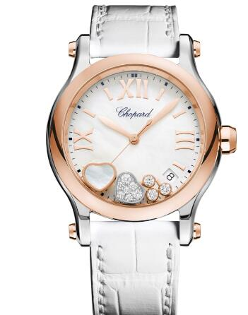 Chopard Happy Hearts Watch Cheap Price 36 MM QUARTZ ROSE GOLD STAINLESS STEEL DIAMONDS MOTHER-OF-PEARL 278582-6009