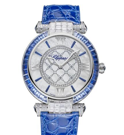 Chopard Imperiale Joaillerie Watches for sale Review Replica 40 MM AUTOMATIC WHITE GOLD IAMONDS SAPPHIRES 384239-1013