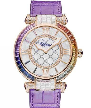 Chopard Imperiale Joaillerie Rainbow Watches for sale Review Replica 40 MM AUTOMATIC ROSE GOLD DIAMONDS COLORED SAPPHIRES 384239-5009