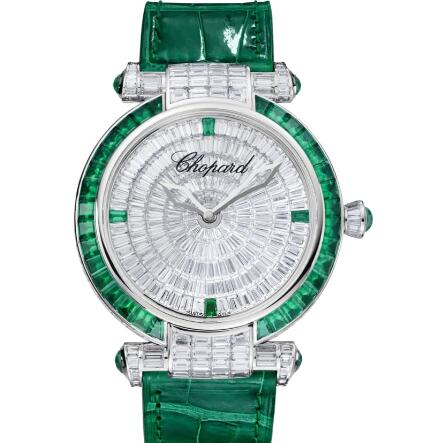 Chopard Imperiale Joaillerie Watches for sale Review Replica 40 MM AUTOMATIC WHITE GOLD DIAMONDS EMERALDS 384240-1004