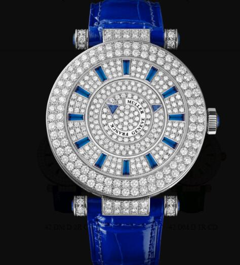 Franck Muller Round Ladies Double Mystery Replica Watch for Sale Cheap Price 42 DM D 2R CD OG BLUE