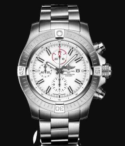 Replica Breitling Super Avenger Chronograph 48 Stainless Steel - White Bold Watch A133751A1A1A1