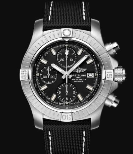 Breitling Avenger Chronograph 43 Stainless Steel - Black Replica Watch A13385101B1X1