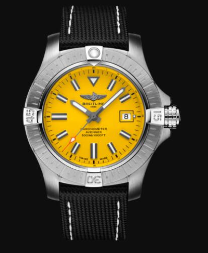 Replica Breitling Avenger Automatic 45 Seawolf Stainless Steel - Yellow Watch A17319101I1X1