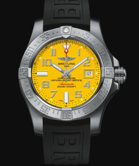 Breitling Avenger II Seawolf Stainless Steel - Yellow Replica Watch A17331101I1S2