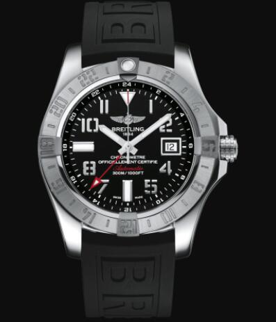 Replica Breitling Avenger II GMT Stainless Steel - Black Watch A32390111B2S1