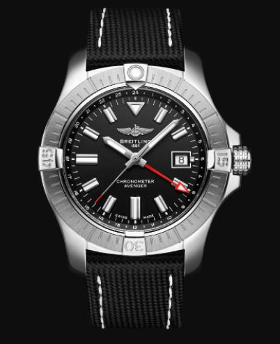 Replica Breitling Avenger Automatic GMT 43 Stainless Steel - Black Bold Watch A32397101B1X1
