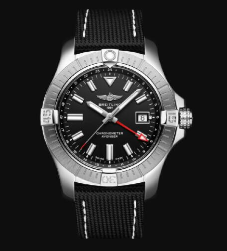 Replica Breitling Avenger Automatic GMT 43 Stainless Steel - Black Bold Watch A32397101B1X2