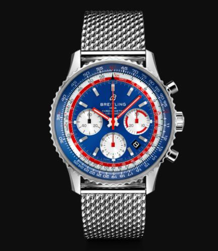 Breitling Navitimer 1 B01 Chronograph 43 Pan Am Blue Dial Stainless Steel Men Replica Watch AB01212B1C1A1