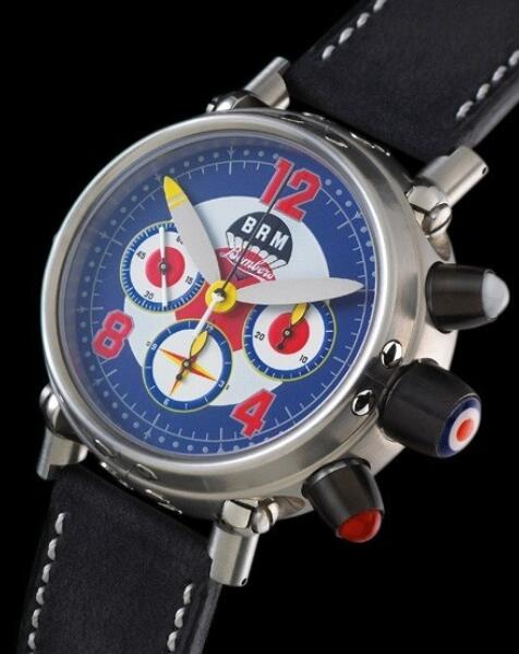 Replica B.R.M Bombers Watch Bombers-45-G-UK Brushed Stainless Steel - Leather Strap