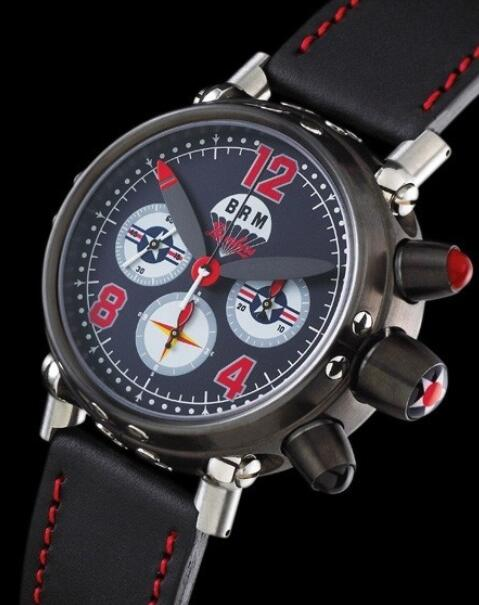 Replica B.R.M Bombers Watch Bombers-45-N-US1 Black PVD Steel - Leather Bracelet