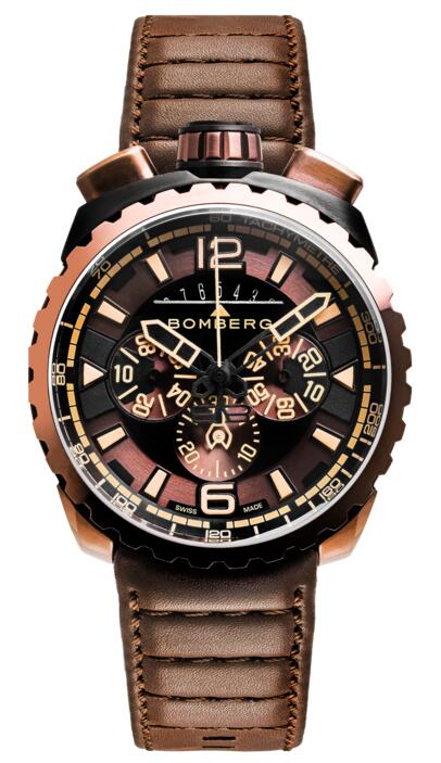 Bomberg Bolt-68 BS45CHPBRBA.050-2.3 Dark Brown Chronograph Replica mens watch