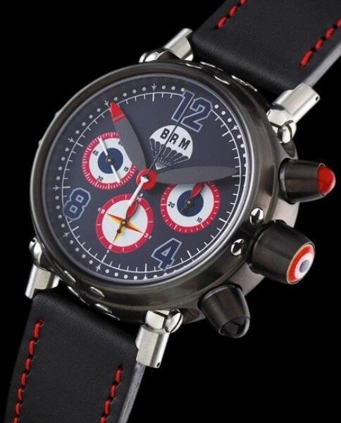 Replica B.R.M Bombers Watch Bombers-45-N-FR Black PVD Steel - Leather Bracelet