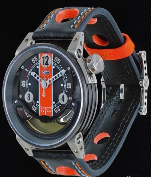 Replica Watch B.R.M CNT-44-Gulf B.R.M Watch GUL CNT-44-GULF Black PVD Steel - Leather Bracelet