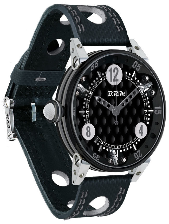 Brm Gulf Watch Replica BRM 6-44 Golf Black Dial Silver GF6-44-SA-N-AG