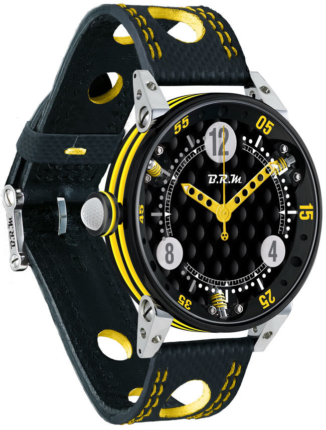 Brm Gulf Watch Replica BRM 6-44 Golf Black Dial Yellow GF6-44-SA-N-AJ
