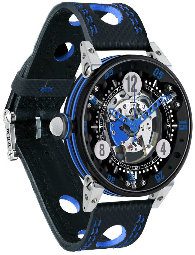 Brm Gulf Watch Replica BRM Golf Black Skeleton Dial Light Blue GF6-44-SA-N-SQ-ABLC