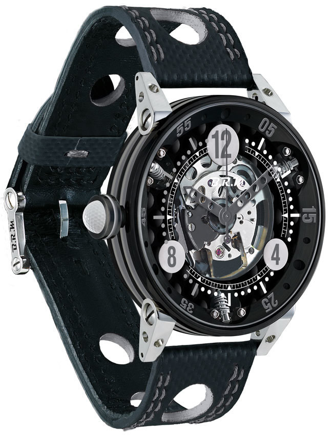 Brm Gulf Watch Replica BRM Golf Black Skeleton Dial Silver GF6-44-SA-N-SQ-AG