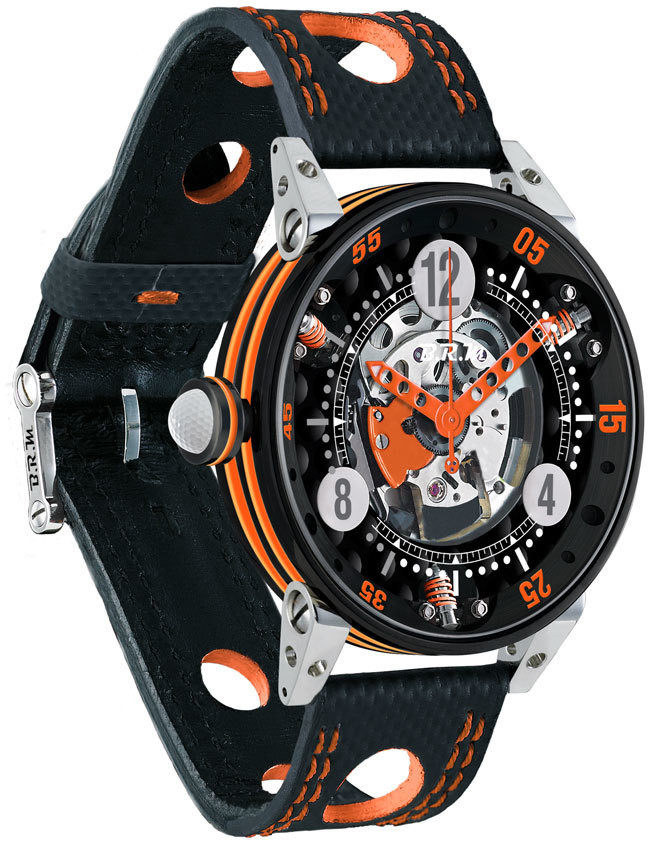 Brm Gulf Watch Replica BRM Golf Black Skeleton Dial Orange GF6-44-SA-N-SQ-AO