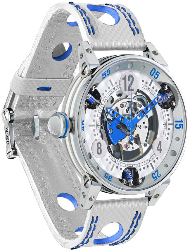 Brm Gulf Watch Replica BRM Golf White Skeleton Dial Blue GF6-44-SA-SQ-ABLF