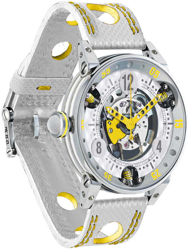 Brm Gulf Watch Replica BRM Golf White Skeleton Dial Yellow GF6-44-SA-SQ-AJ