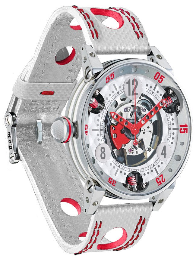 Brm Gulf Watch Replica BRM Golf White Skeleton Dial Red GF6-44-SA-SQ-AR
