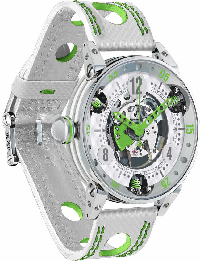 Brm Gulf Watch Replica BRM Golf White Skeleton Dial Green GF6-44-SA-SQ-AVP