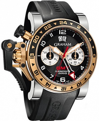 Graham Chronofighter Oversize GMT 2OVGG.B21A.K10S Black Steel & Gold Replica watch