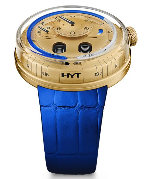 Replica HYT h0 gold blue 048-GD-94-BF-CR watch
