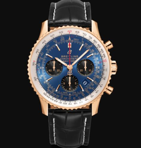 Breitling Navitimer B01 Chronograph 43 18k Red Gold - Blue Replica Watch RB0121211C1P1