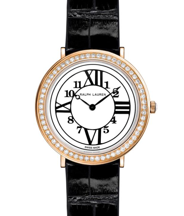 Ralph Lauren 38 MM RL888 Rose Gold One Row Diamonds RLR0191701 watches for sale