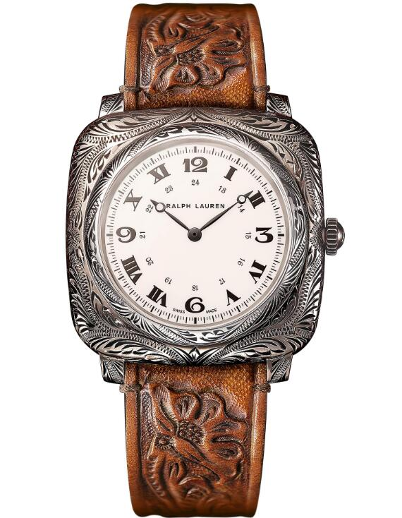 replica Ralph Lauren Western Cushion Engraved Sterling Silver 42 mm RLR0919700 watches
