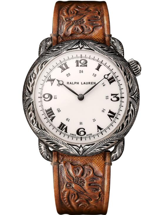 replica Ralph Lauren Western Round Engraved Sterling Silver 45 mm RLR0919701 watches