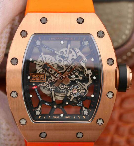 Replica Richard Mille RM035 rose gold orange rubber watch price