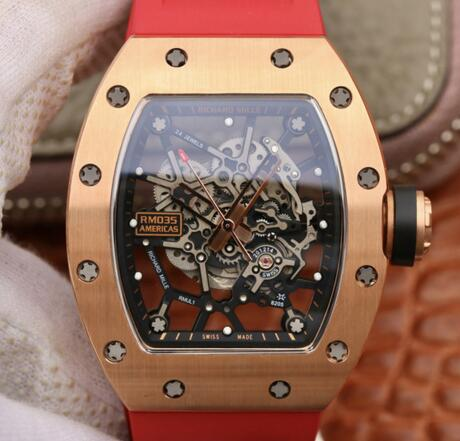 luxury Richard Mille RM035 rose gold red rubber watches replica