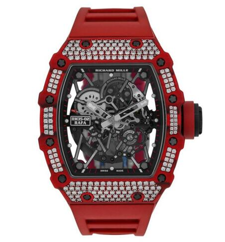 Fake Richard Mille Red Quartz-TPT Diamonds Watch RM35-02