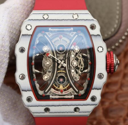 replica Richard Mille RM53-01 Carbon red rubber mens watch for sale