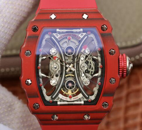 Richard Mille RM53-01 TPT carbon fiber red rubber replica mens watches