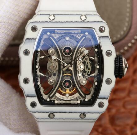 fake Richard Mille RM53-01 Carbon white rubber Automatic mens watches