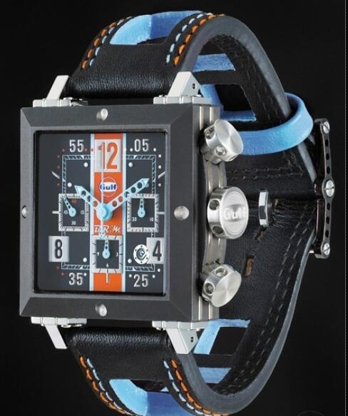 Replica Watch B.R.M SD-41 Gulf B.R.M Watch GUL SD-41-GULF Black PVD Titanium - Leather Strap