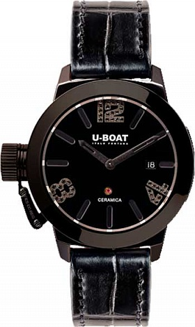 Replica U-BOAT Classico 42 CERAMIC BLACK DIAMONDS 7124 watch