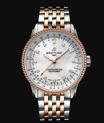 Breitling Navitimer Automatic 35 Stainless Steel & 18k Rose Gold Replica Watch U17395211A1U1