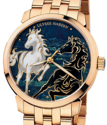 Ulysse Nardin 8156-111-8 / CHEVAL Classico Enamel Horse Gold Bracelet replica watches china