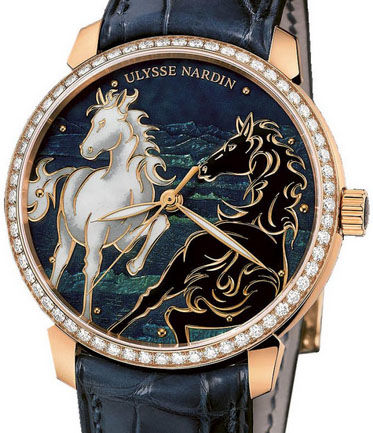 Ulysse Nardin 8156-111B-2 / CHEVAL Classico Enamel Horse Diamond high quality watches
