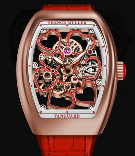 Franck Muller Vanguard Lady Heart Skeleton Replica Watch Cheap Price V 38 S6 SQT HEART (RG)