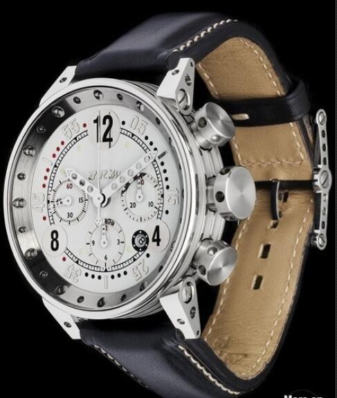 B.R.M Watch Fake V12-44-GTB Brushed Stainless Steel - Leather Strap